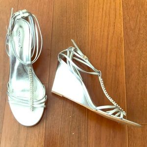 Silver Andrea Wedges